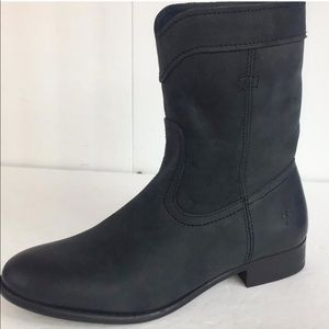 New FRYE Women's Cara Roper Black Leather  Boots